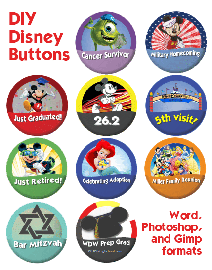 DIY Disney theme park buttons
