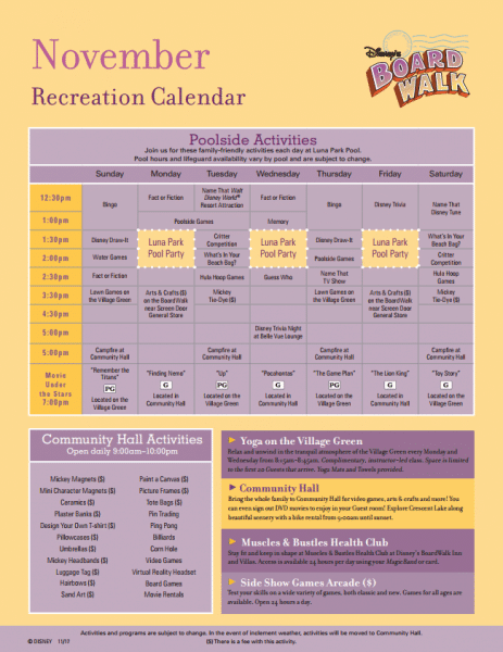 Boardwalk_Inn_Recreational_calendar