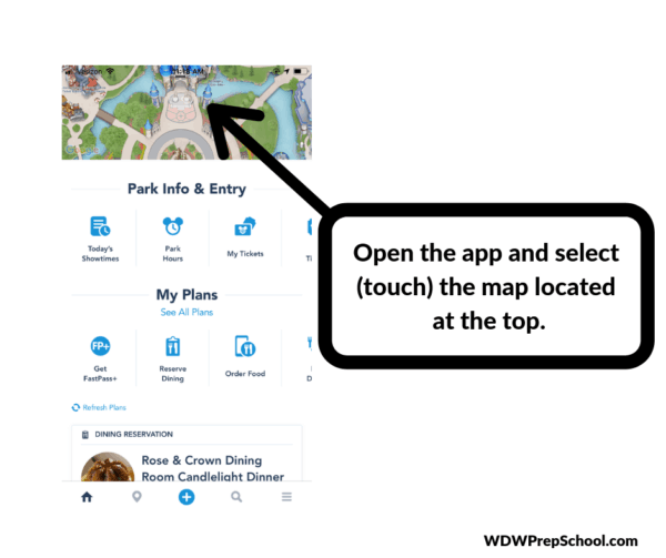 My Disney Experience App - how to find the characters step 1
