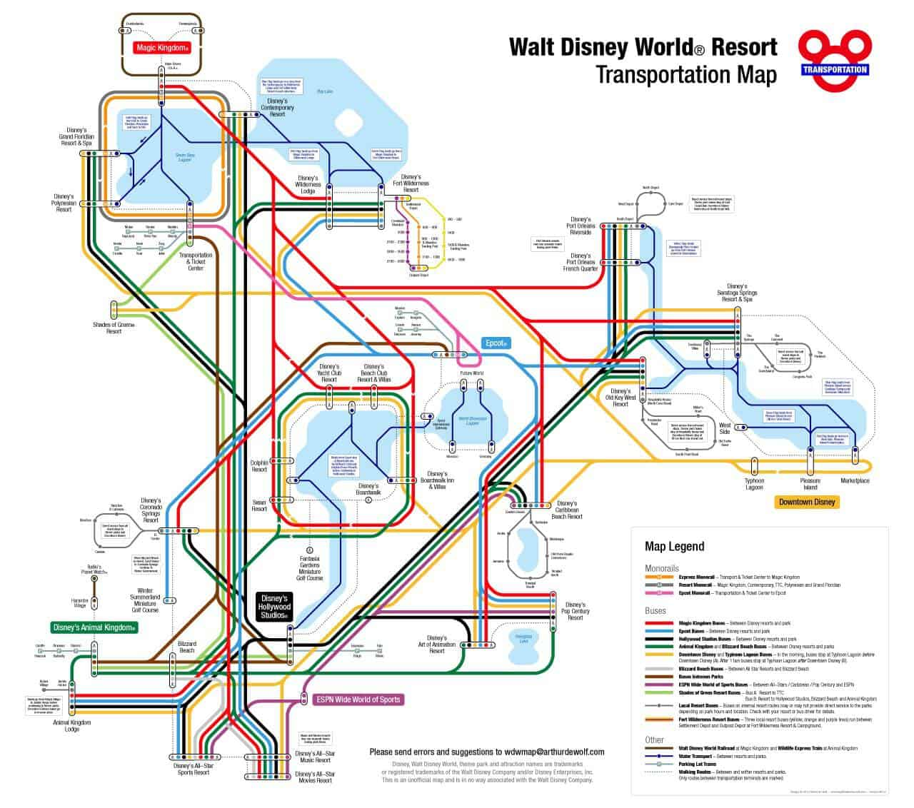 Transportationmap   How To Navigate With Disney World Transportation    PREP007