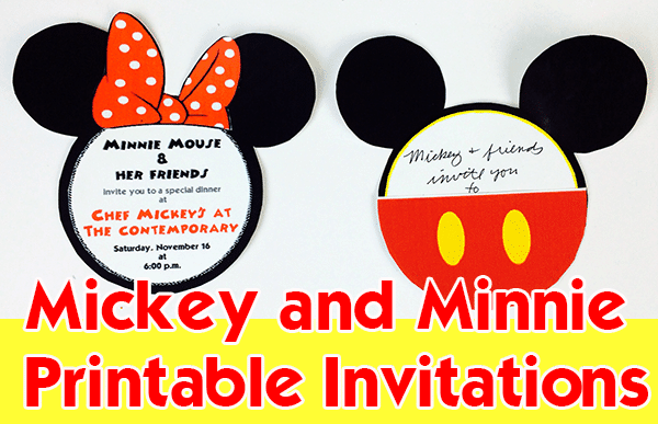 Mickey and Minnie printable invitations | 3 DIY Disney invitations