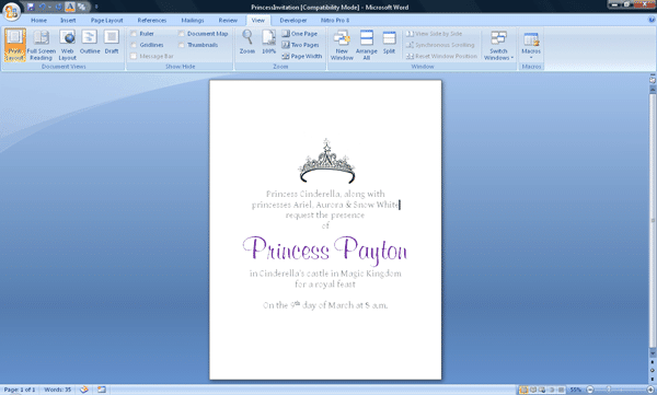 princessscreenshot - 3 DIY invitations to use during your Disney World trip