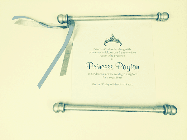 3 DIY Disney invitations princess scroll