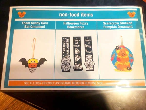 Allergy Menu for Mickey's No-So-Scary Halloween Party