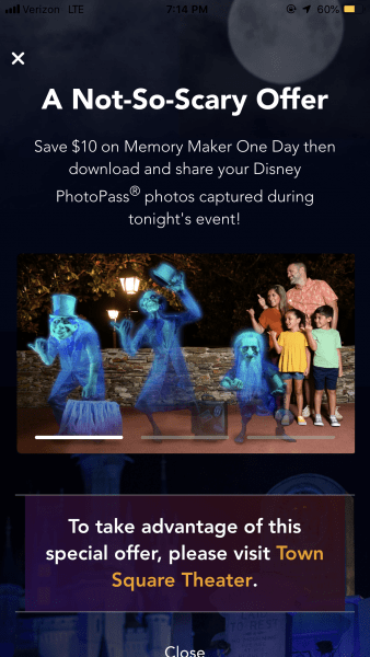 Memory Maker deal for Mickey's Not So Scary Halloween Party