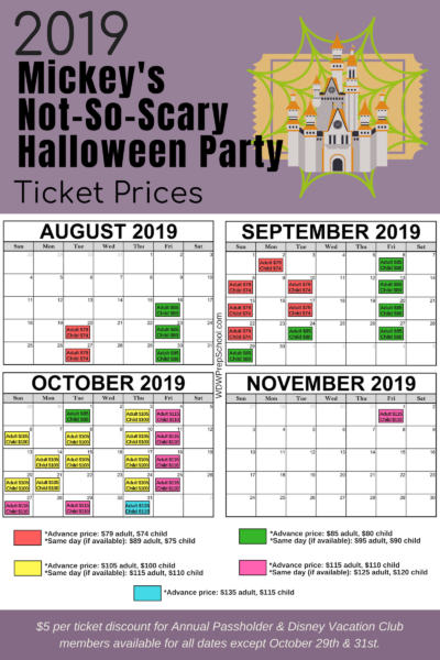 2019 Mickeys Not-So-Scary Halloween Party ticket prices MNSSHP
