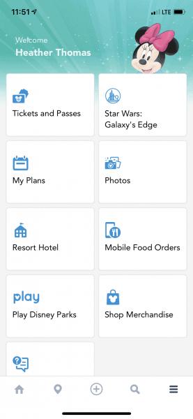 Hamburger menu in My Disney Experience