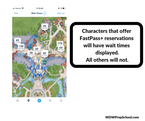 How to find the characters in the My Disney Experience app