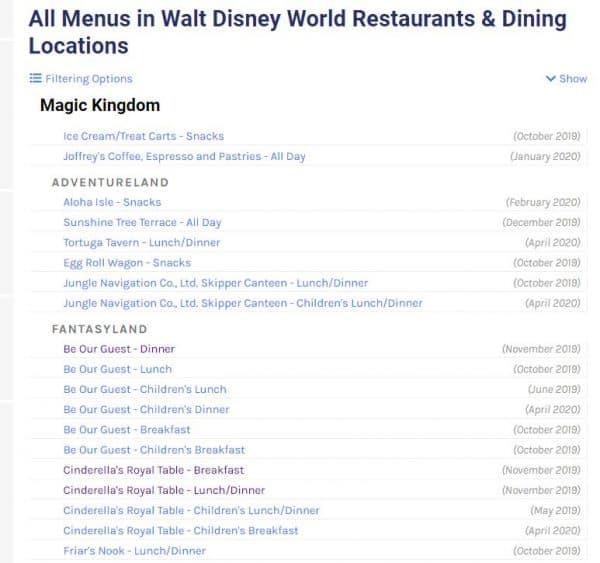 AllEars menus