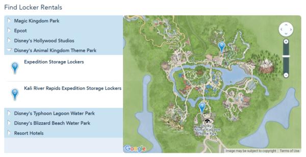 Animal Kingdom locker locations
