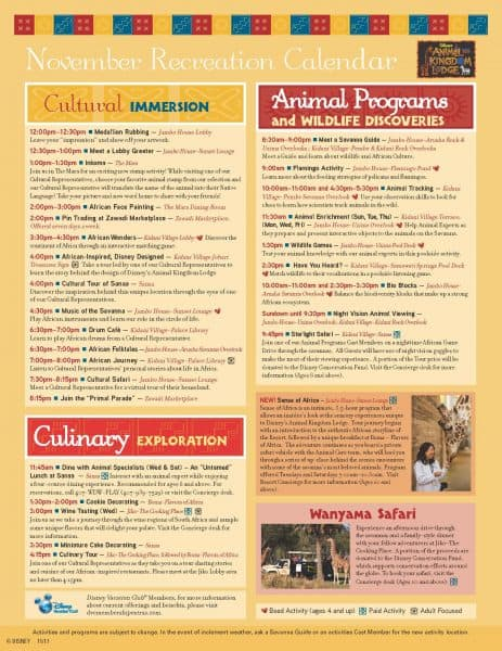 Animal Kingdom Lodge Recreational Calendar