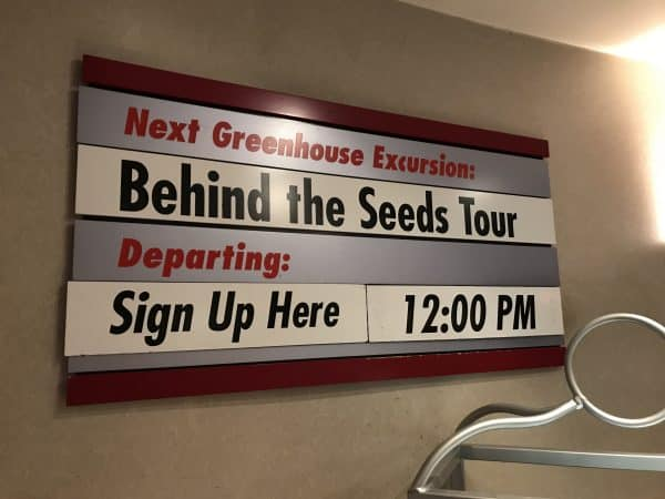 Behind the Seeds sign