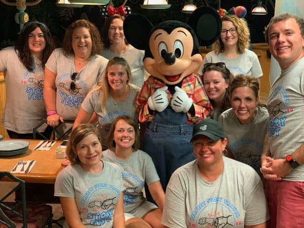 Group at breakfast with Mickey at Garden Grill
