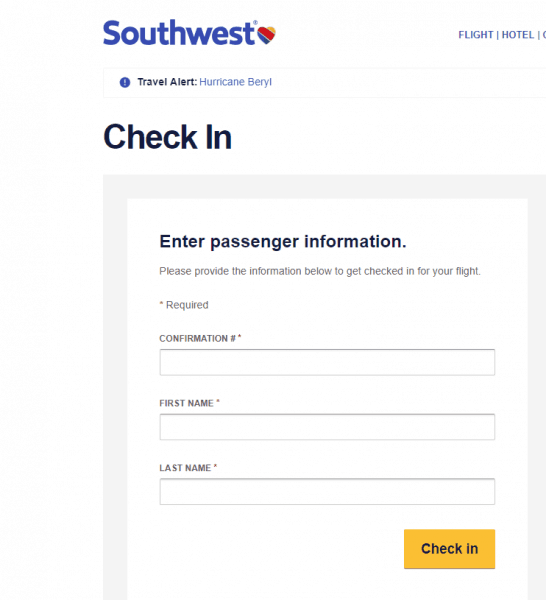 Check in southwest 546x600 - Complete guide to flights for your Disney World trip