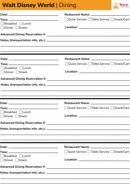 Dining Planning Worksheet