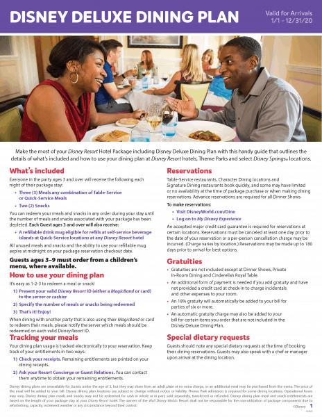 Deluxe Disney Dining Plan flyer