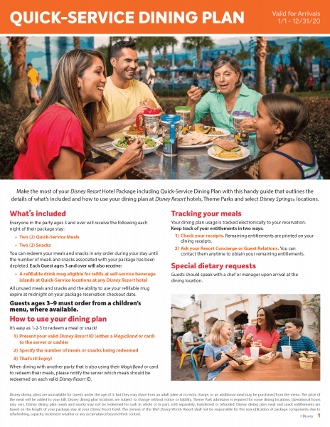 Disney Quick Service Dining Plan flyer