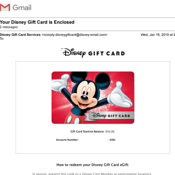 Disney gift card housekeeping featured