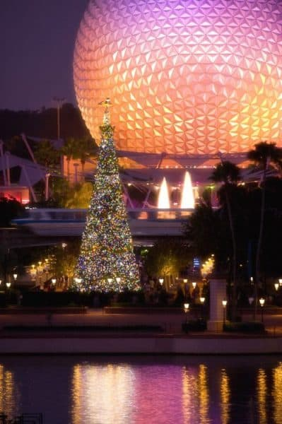 Epcot tree 399x600 - When do the Christmas decorations go up at Disney World?