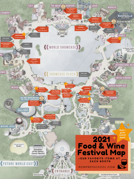 2021 Food and Wine Festival Map with WDW Prep Favorites