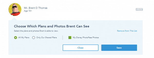 Friends and family settings 600x226 - How do I make FastPass+ and dining reservations for somebody I'm traveling with but not on my resort reservation?