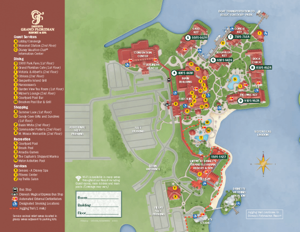 Grand Floridian and Grand Floridian Villas resort map