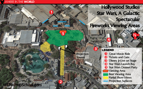 Map of Star Wars Galactic Spectacular Fireworks View