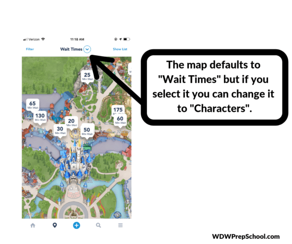 How to find the characters in the My Disney Experience app step 2