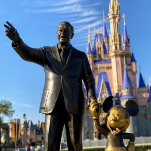 Walt and Mickey statue castle hub