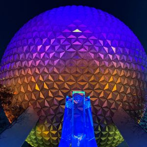 Spaceship Earth with fountain