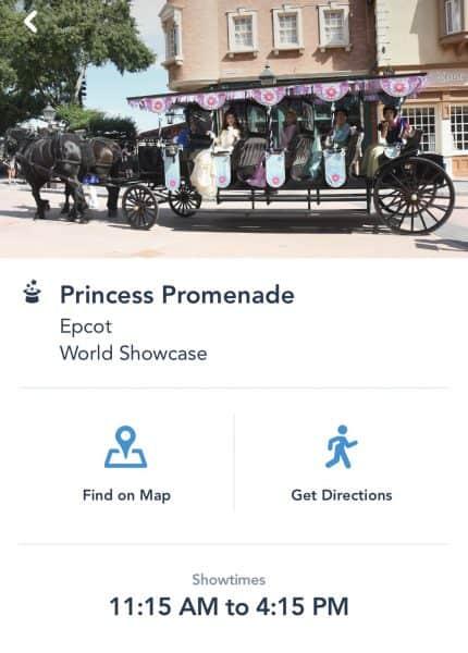 Princess Promenade Show times