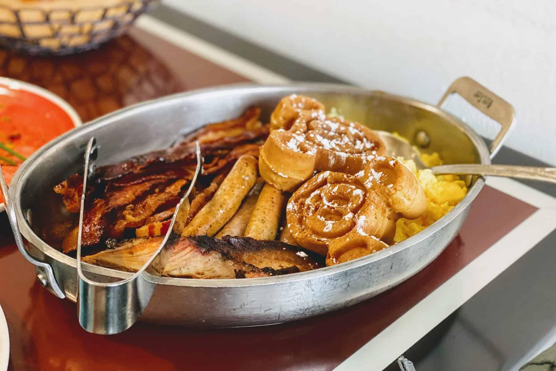 Platter of breakfast food