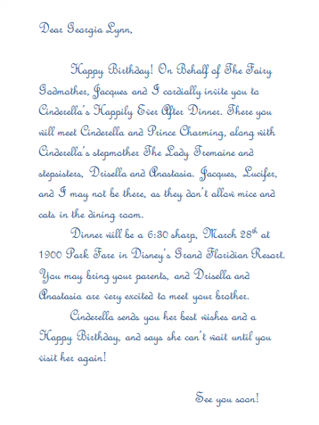 Letter for Cinderella Royal Table breakfast