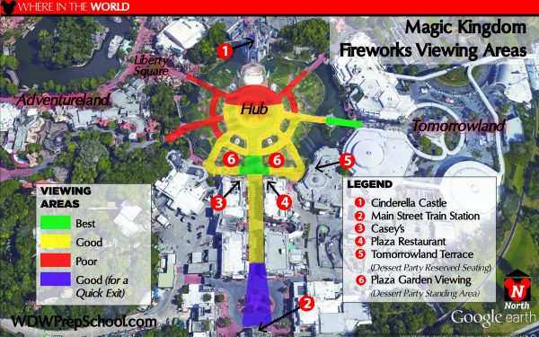 Magic Kingdom fireworks viewing area map