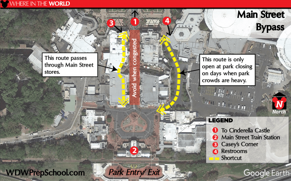 Time-saving shortcut paths at Disney World