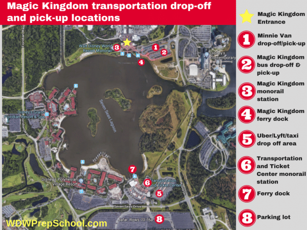 Magic Kingdom transportation locations 600x450 - Minnie Vans now available at all resorts! Here's how they work.