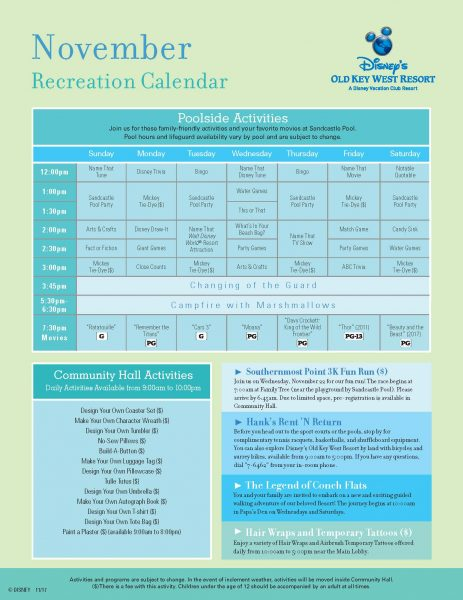 Old Key West Recreational Calendar