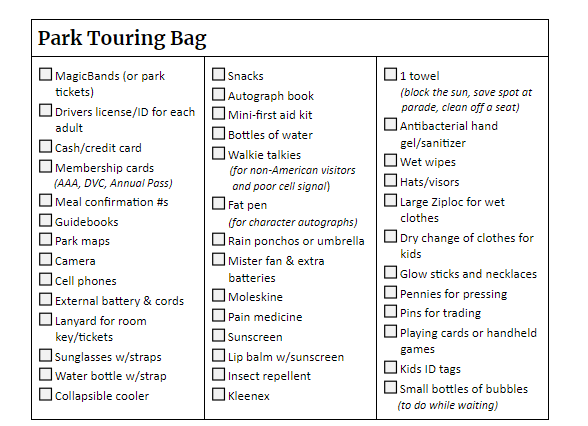 Packing List touring bag