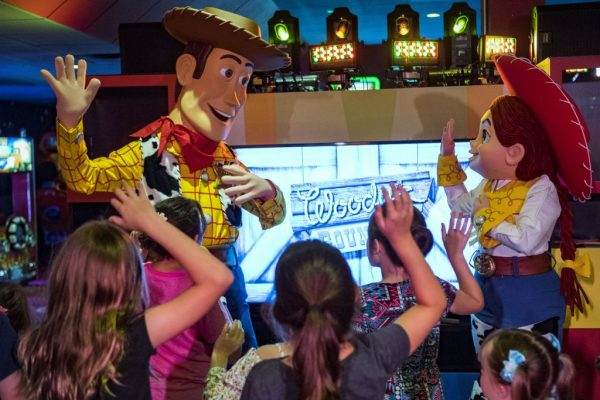 PixarPlayWoodyJessie 600x400 - What is the Pixar Play Zone at Disney's Contemporary Resort?