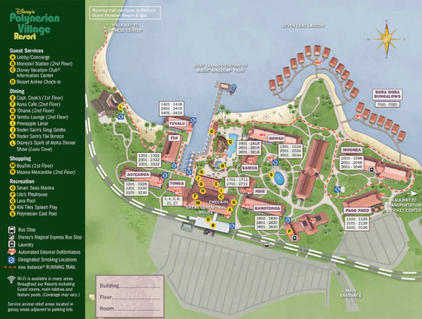Polynesian map 600x453 - Disney World maps - download for the parks, resorts, parties + more