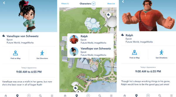 Wreck it ralph characters (Ralph and Vanellope) in the MDE app