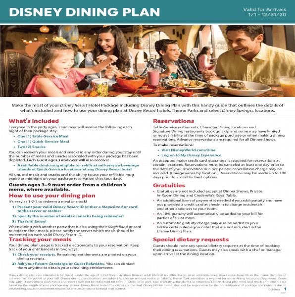 Regular Disney Dining Plan Flyer