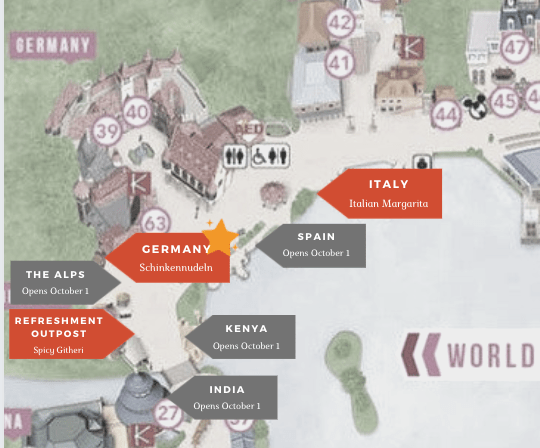 Food and Wine Festival - Refreshment Outpost booth location map