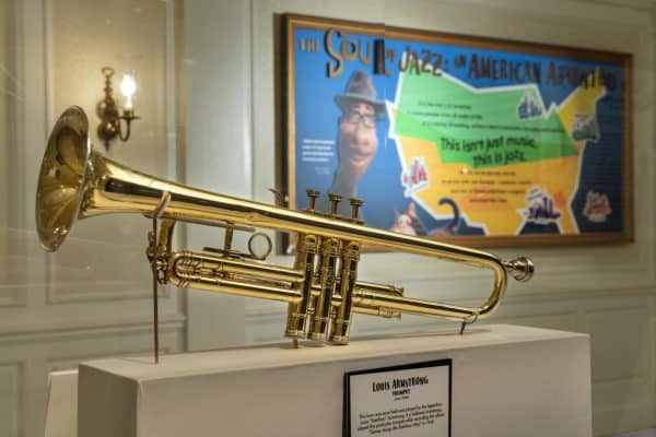 louis armstrong's trumpet at the soul of jazz exhibit in epcot