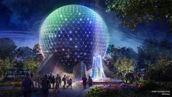 spaceship earth new nighttime lighting