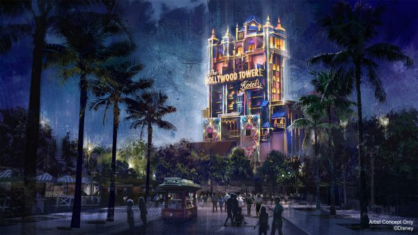 tower of terror nighttime overlay for 50th