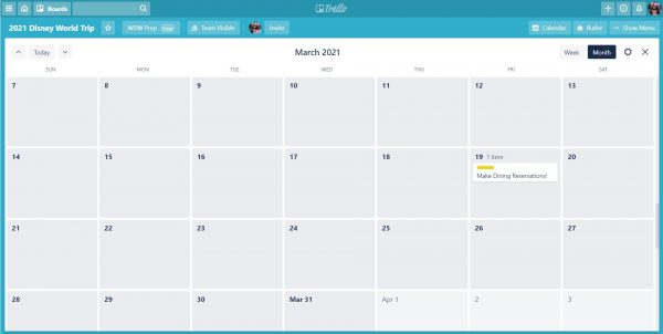 Trello calendar example