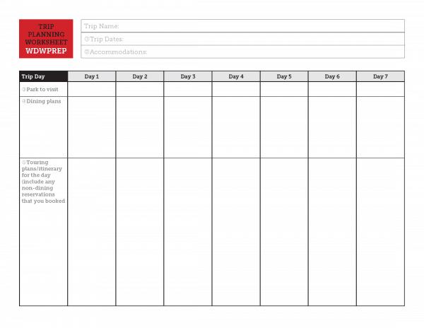 Disney Trip Planning Worksheet