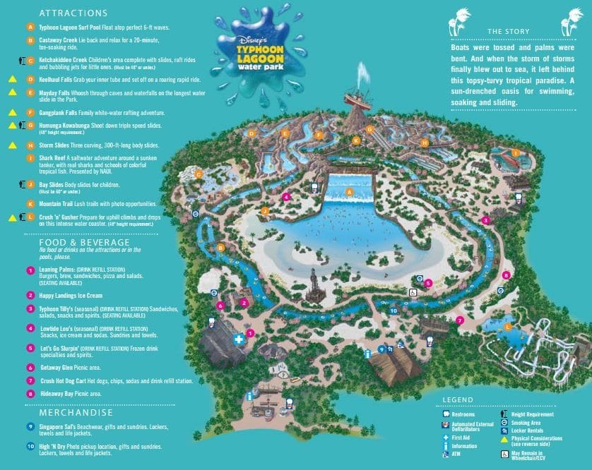 Typhoon Lagoon map - Leaning Palms (lunch)