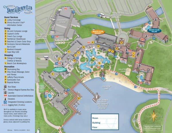 Beach Club and Yacht Club map